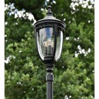 """Traditional Lantern of the """"The Wellwood"""" Black Manor Style Lamp Post"""