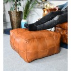 'The Wickesbury' Tan Leather Floor Pouffe to Scale