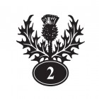 Thistle Iron House Number Sign Finished in Black With White Numbering