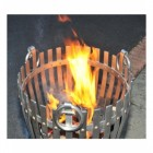 """Close-up of the Top of the """"Vulcan"""" Stainless Steel Log Burner in Use"""