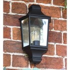Traditional Flush Half Wall Lantern Finished in Black