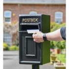 Traditional Black & Gold Post Box and Stand to Scale