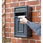 Traditional Black & Gold Wall Mounted Post Box to Scale