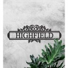 Traditional Foliage House Name Sign Finished in Black