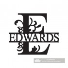 Letter E Monogram Name Sign Personalised with the Name Edwards