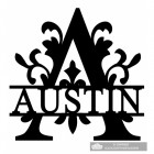 Monogram Letter A Name Sign Personalised with the Name Austin