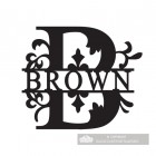 Letter B Monogram Name Sign Personalised with the Name Brown