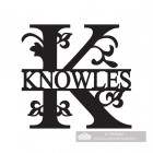 Letter K Monogram Name Sign Personalised with the Name Knowles