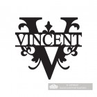 Letter V Monogram Name Sign Personalised with the Name Vincent