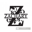 Letter Z Monogram Name Sign Personalised with the Name Zachary