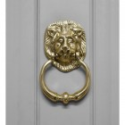 Polished Brass Lion Door Knocker in Situ on a Grey Door