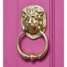 Traditional Polished Brass Lion Door Knocker in Situ on a  Pink Door