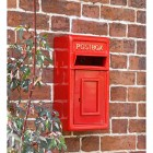 Traditional Wall Mounted Post Box Finished in Red With Gold Text