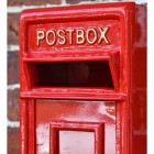 Close-up of the Red Text on the Front of the Post box