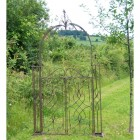 Traditional Scroll Design Rose Arch Gates Finished in a Rustic Finish