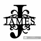 Letter J Monogram Name Sign Personalised with the Name James