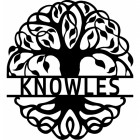 Tree of Life Steel Monogram Steel House Name Sign Finished in Black