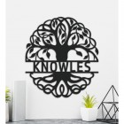 Tree of Life Steel Monogram Name Sign Being Used as Wall Art Inside the Home