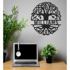 Tree of Life Steel Monogram Name Sign in Situ in the Office