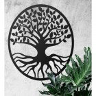 "Black Round ""Tree of Life"" Wall Art in Situ on a White Wall"