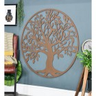 """Round Rustic """"Tree of Life"""" Circular Wall Art in Situ in the Living Area"""