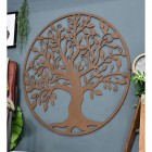 """""""Tree of Life"""" Circular Wall Art in Situ on a Blue Wall"""