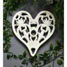 Heart Design Cast Iron Trivet in Cream