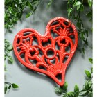 Cast Iron Heart trivet Finished in Red
