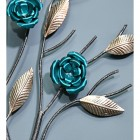 Close-up of the Turquoise Roses on the Wall Art