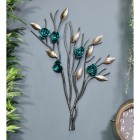 Turquoise Rose Branch Wall Art on a Blue Wall