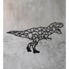 Geometric Iron T-Rex Wall Art on a Rustic Wall