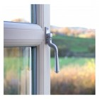 Brushed Satin Chrome Teardrop Espagnolette Window Fastener on UPVC window