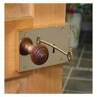 Left Hand Rim Lock Polished Brass with Rim Knob - Large