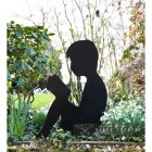 Boy Reading Silhouette Finished in Black