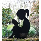 Girl Reading Silhouette Finished in Black