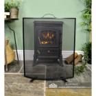 Square Curved Fire Screen in Black