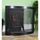 Contemporary Curved Bespoke Fire Guard Finished in Black