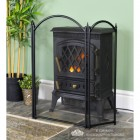 Three Fold Traditional Fire Guard Finished in Black