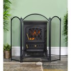 Black Traditional Three Fold Fire Guard with the Wings Extended
