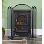 Black Traditional Three Fold Fire Guard by the Fire Place