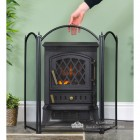 Black Traditional Three Fold Fire Guard to Scale