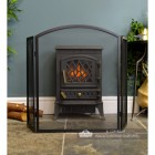 Plain Arched Three Fold Fire Guard Finished in Black