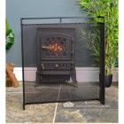 Double Railed Single Panel Fire Guard Finished in Black
