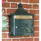 """Breckland Thyme"" Huntingdon Wall Mounted Post Box Finished in Green"