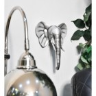 Silver Elephant Head Wall Art mounted to wall