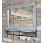 Rustic industrial mirror with hooks