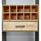 Close up of bottle holder and drawer