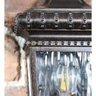 Close up of decorative trim and textured pane