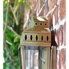 Side view of antique brass wall light