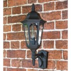 Large Bottom Fix Black Wall Lantern on Brick Wall